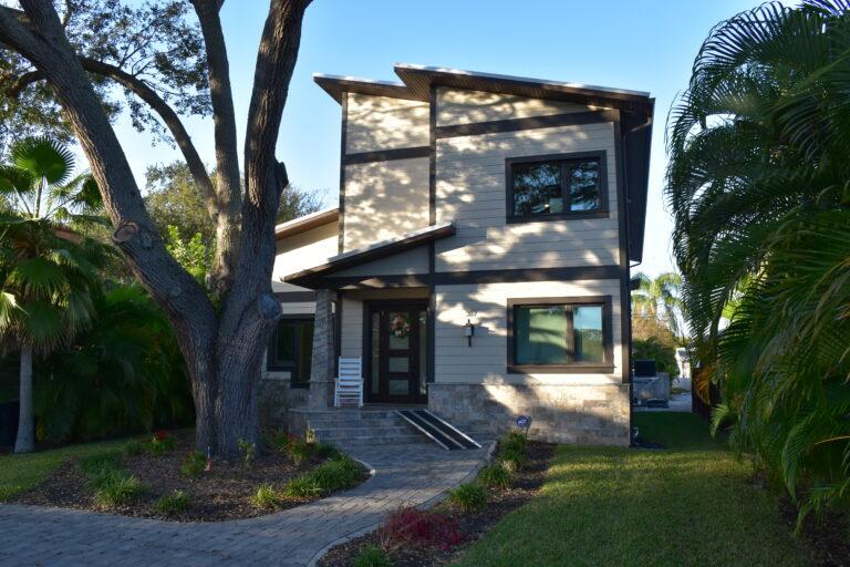 New home next to oak tree